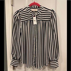 NWT Loft black & white striped button down